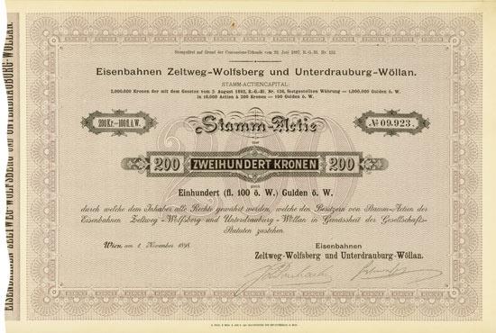 Eisenbahnen Zeltweg-Wolfsberg und Unterdrauburg-Wöllan