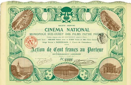 Société Anonyme Cinéma National Monopole Sud-Ouest Des Films Pathé Fréres