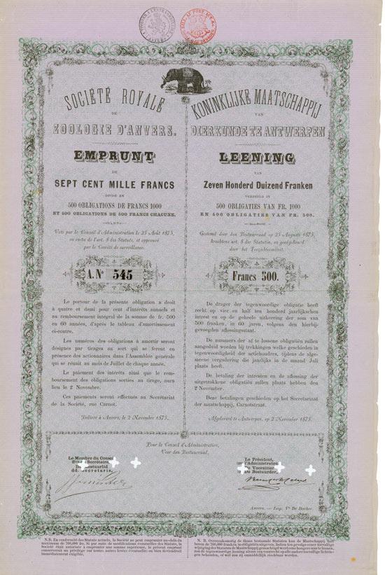 Société Royale de Zoologie d'Anvers / Koninklijke Maatschappij van Dierkunde te Antwerpen