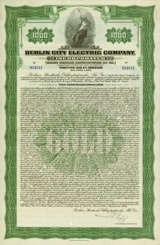Berlin City Electric Company, Incorporated  (Berliner Städtische Elektrizitätswerke)