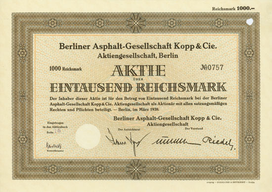 Berliner Asphalt-Gesellschaft Kopp & Cie. AG
