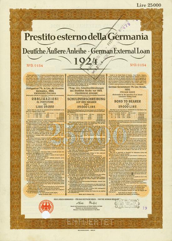 Deutsches Reich (Deutsche Äußere Anleihe 1924, italienische Ausgabe)