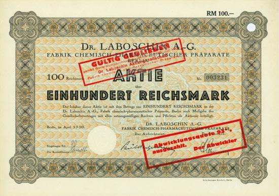 Dr. Laboschin AG, Fabrik chemisch-pharmazeutischer Präparate