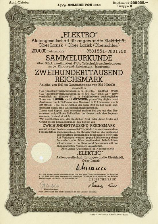 Elektro AG für angewandte Elektrizität, Ober Lazisk