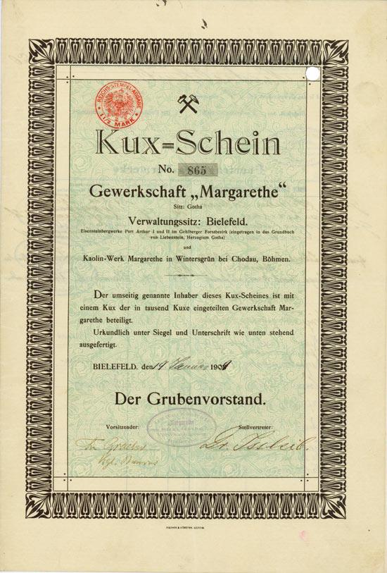 Hwph Ag Historische Wertpapiere Gewerkschaft Margarethe Zu Gotha