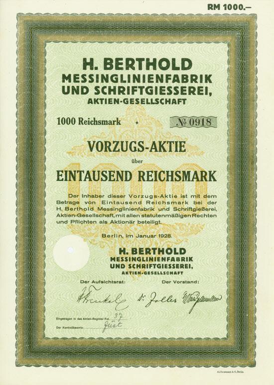 H. Berthold Messinglinienfabrik und Schriftgiesserei, AG