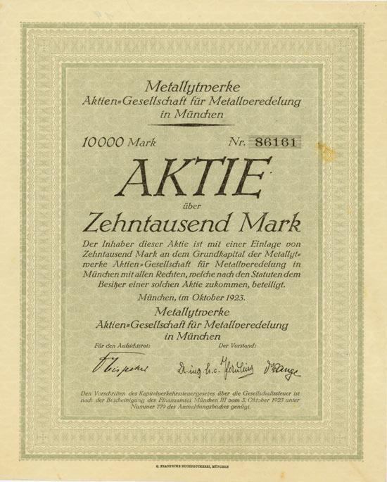 Metallytwerke AG für Metallveredelung