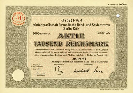 MODENA AG für modische Band- und Seidenwaren