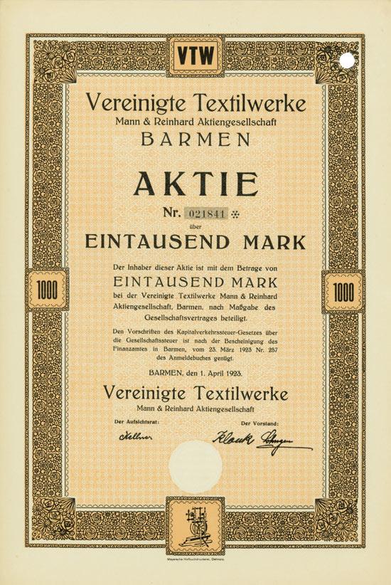Vereinigte Textilwerke Mann & Reinhard AG