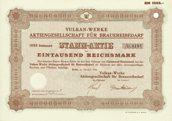 Vulkan-Werke AG für Brauereibedarf
