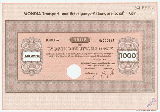 MONDIA Transport- und Beteiligungs-AG