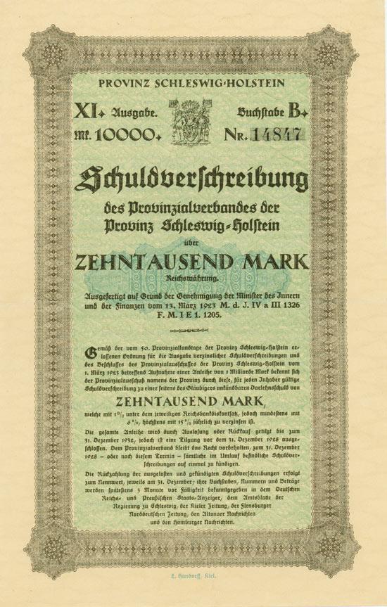 Provinzialverband der Provinz Schleswig-Holstein [2 Stück]