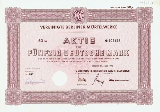 Vereinigte Berliner Mörtelwerke [20 Stück]