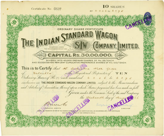 Indian Standard Wagon Company, Limited