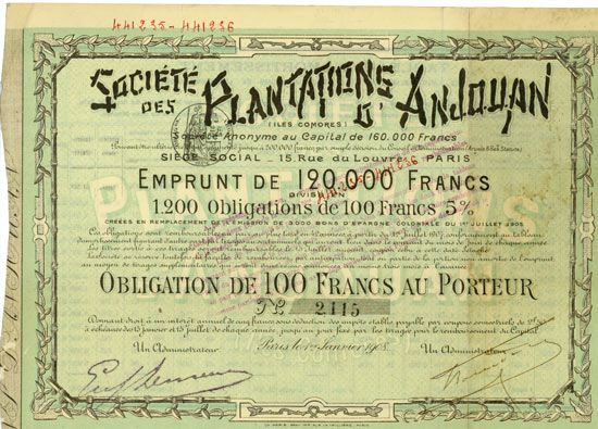 Société des Plantatione d'Anjouan (Iles Comores)