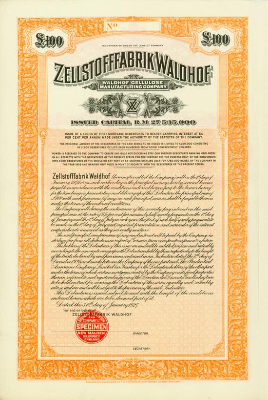 Zellstofffabrik Waldhof / Waldhof Cellulose Manufacturing Company