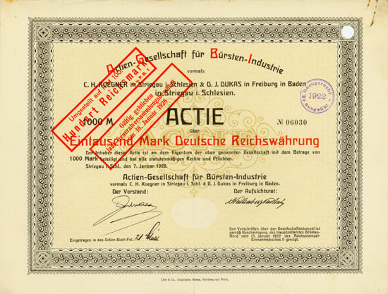 Actien-Gesellschaft für Bürsten-Industrie vormals C. H. Roegner in Striegau i. Schlesien & D. J. Dukas in Freiburg in Baden