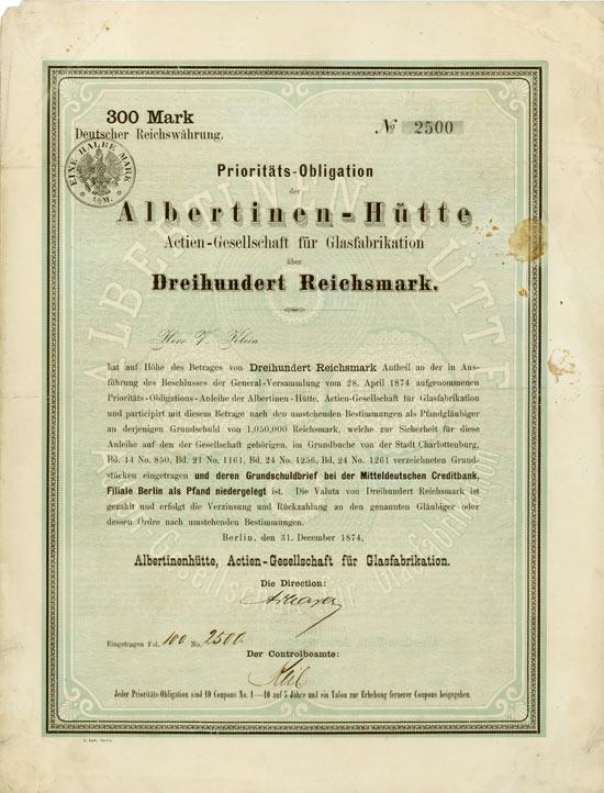 Albertinenhütte Actien-Gesellschaft für Glasfabrikation