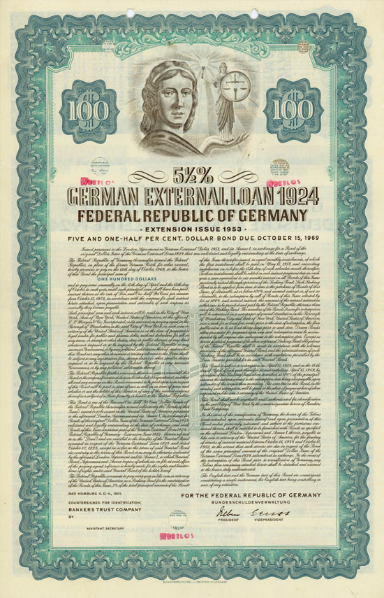 Bundesrepublik Deutschland - German External Loan 1924
