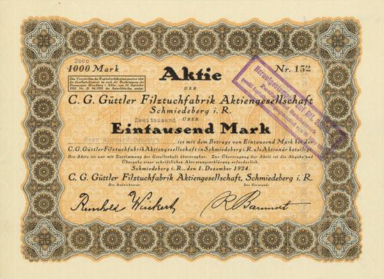 C. G. Güttler Filztuchfabrik AG, Schmiedeberg i. R.