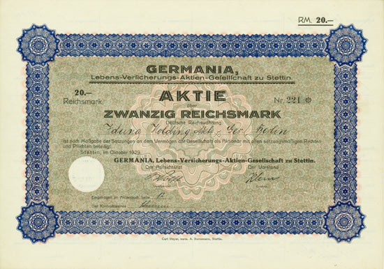 Germania, Lebens-Versicherungs-AG zu Stettin