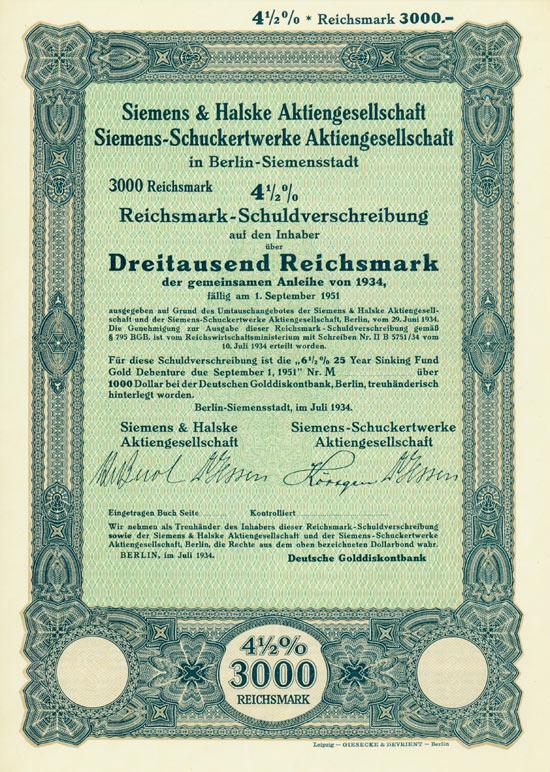 Siemens & Halske AG + Siemens-Schuckertwerke GmbH