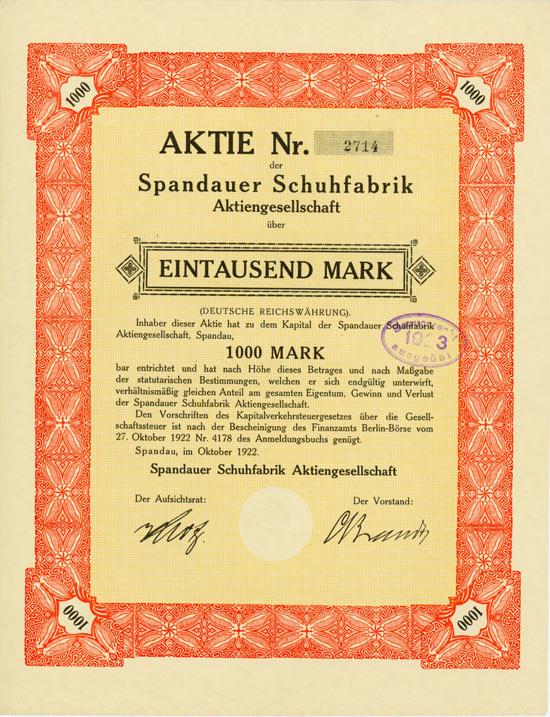 Spandauer Schuhfabrik AG [Multiauktion 2]