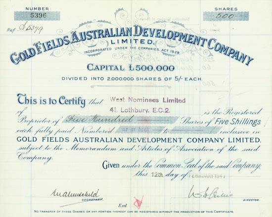 Gold Fields Australian Development Company Limited
