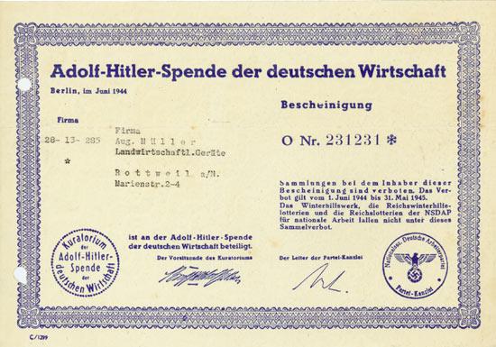 Adolf-Hitler-Spende der deutschen Wirtschaft