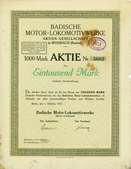 Badische Motor-Lokomotivwerke AG in Mosbach (Baden)