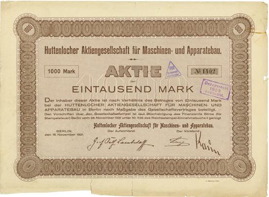 Huttenlocher AG für Maschinen- und Apparatebau [2 Stück]