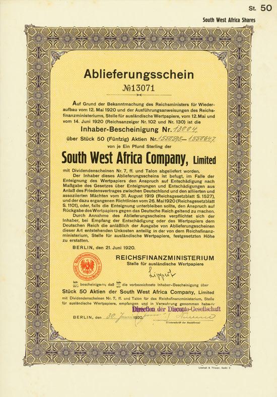 South West Africa Co. (Reichsfinanzministerium)