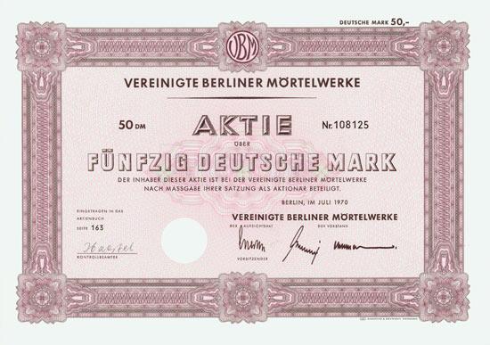 Vereinigte Berliner Mörtelwerke [2 Stück]