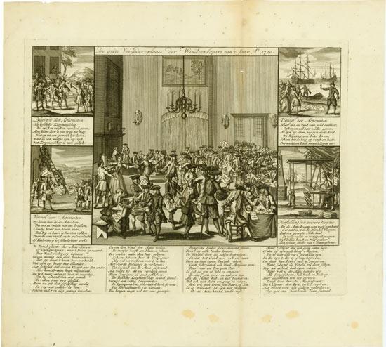 John Law: De grôte Vergader-plaats der Windverkopers vant Jaar Ao. 1720.