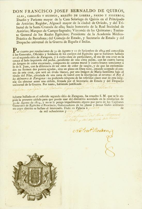Don Francisco Josef Bernaldo de Quiros