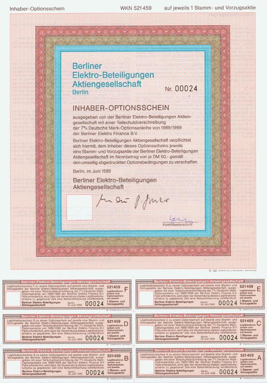 Berliner Elektro-Beteiligungen AG [260 Stück]
