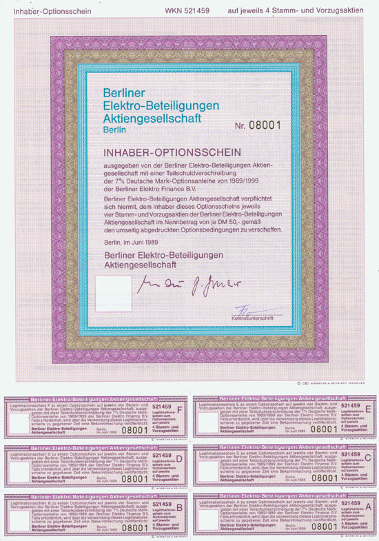 Berliner Elektro-Beteiligungen AG [344 Stück]