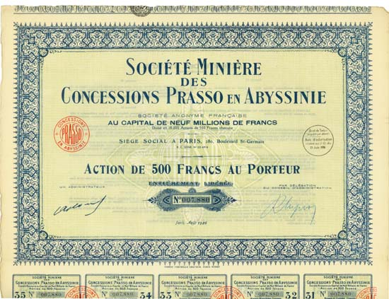 Société Minière des Concessions Prasso en Abyssinie