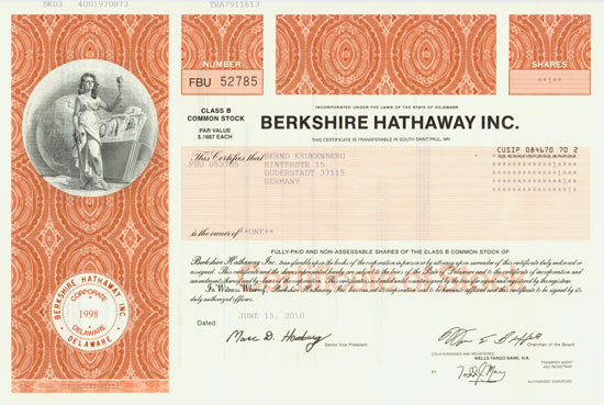 HWPH AG Historische Wertpapiere Berkshire Hathaway
