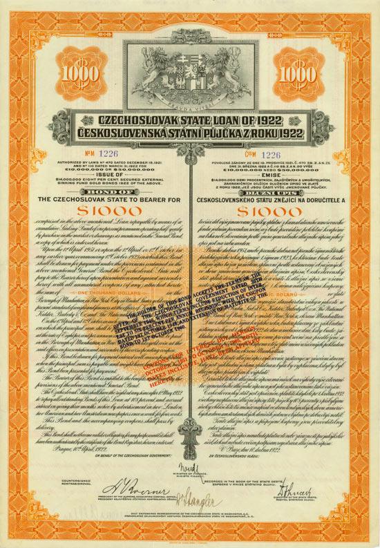 Czechoslovak State Loan of 1922