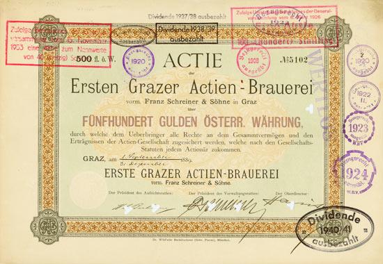Erste Grazer Actien-Brauerei vorm. Franz Schreiner & Söhne