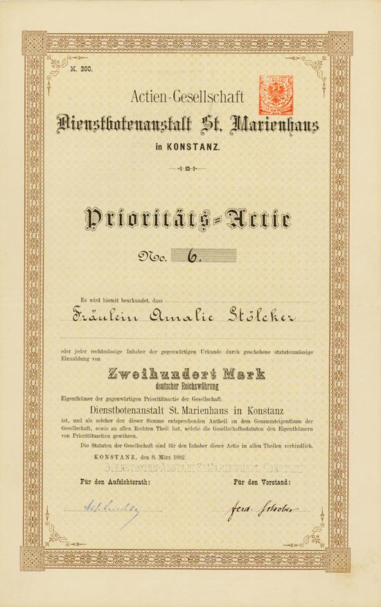 Actien-Gesellschaft Dienstbotenanstalt St. Marienhaus in Konstanz