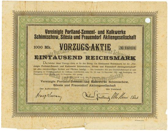 Vereinigte Portland-Zement- und Kalkwerke Schimischow, Silesia und Frauendorf AG