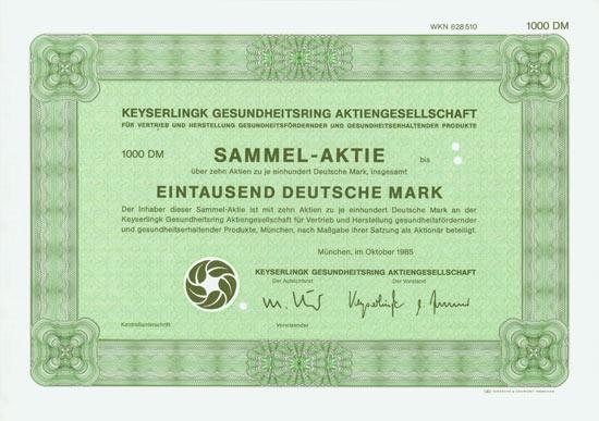 Keyserlingk Gesundheitsring Aktiengesellschaft für Vertrieb und Herstellung gesundheitsfördernder und gesunderhaltender Produkte