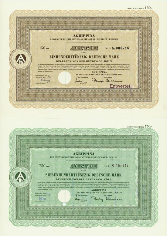 Agrippina Lebensversicherung AG / Agrippina Versicherungs AG [7 Stück]