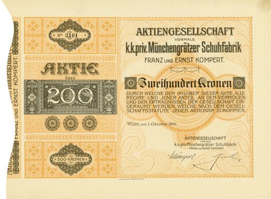 Aktiengesellschaft k.k.priv. Münchengrätzer Schuhfabrik vormals Franz und Ernst Kompert