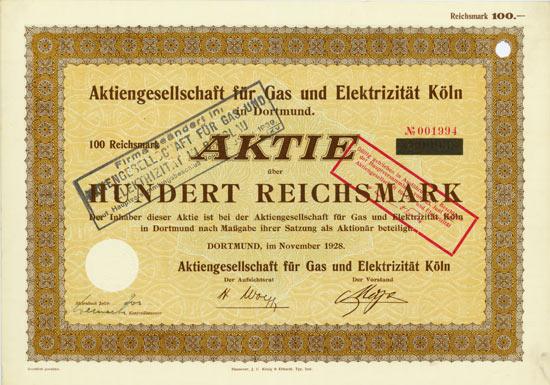 Aktiengesellschaft für Gas und Elektrizität Köln