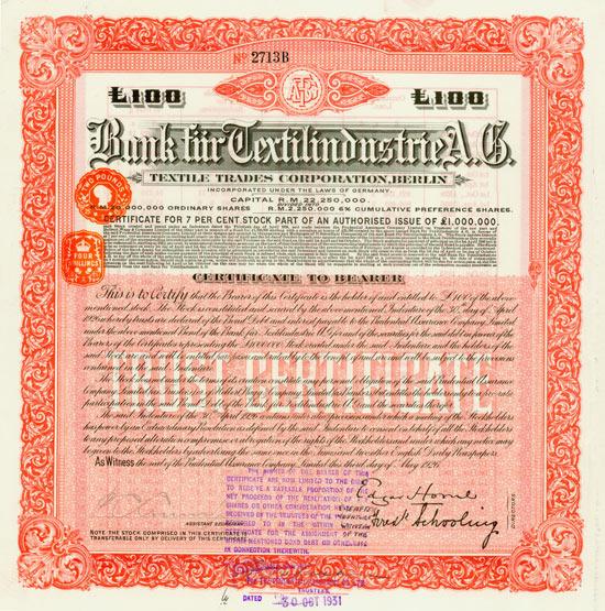 Bank für Textilindustrie AG (Textile Trades Corporation)