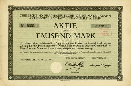 Chemische & Pharmazeutische Werke Mayer-Alapin AG