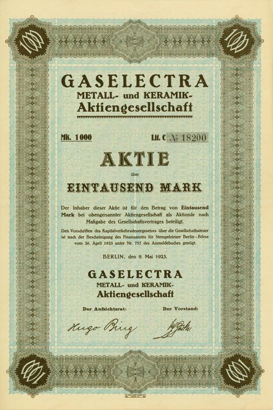 Gaselectra Metall- und Keramik-AG